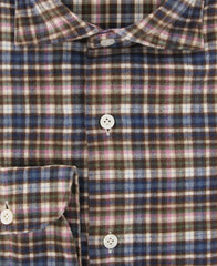 New $375 Finamore Napoli Brown Plaid Shirt - Extra Slim - (F122181) - Parent