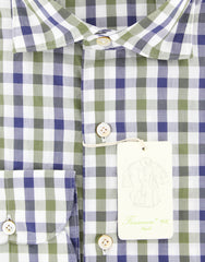New $375 Finamore Napoli Olive Check Shirt - Extra Slim - (FN88176) - Parent