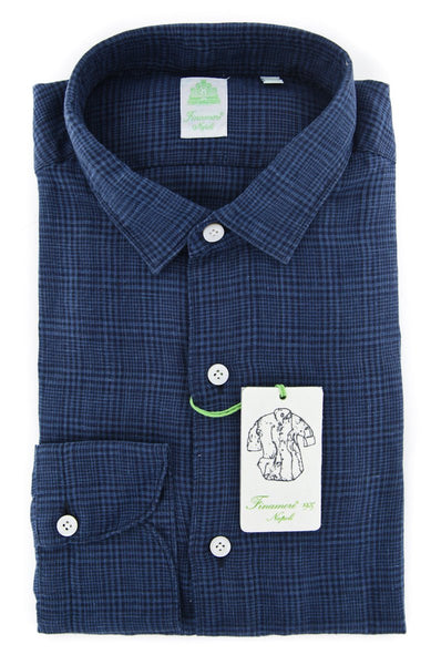 New $375 Finamore Napoli Dark Blue Plaid Shirt - Extra Slim - (201802269) - Parent