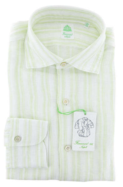 $375 Finamore Napoli Light Green Striped Shirt - Extra Slim - (QQ) - Parent