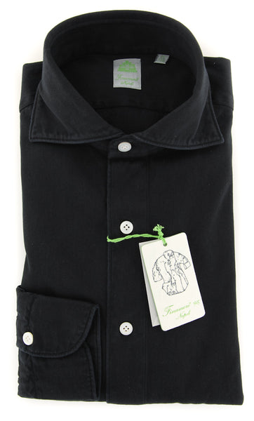 New $375 Finamore Napoli Black Denim Shirt - Extra Slim - (2018030223) - Parent