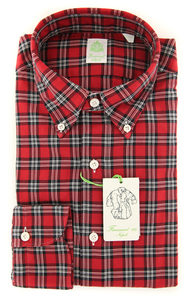 New $375 Finamore Napoli Red Plaid Shirt - Extra Slim - (2018022815) - Parent