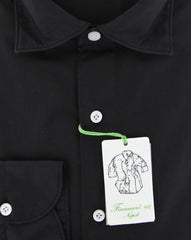 New $375 Finamore Napoli Black Solid Shirt - Extra Slim - (2018022614) - Parent