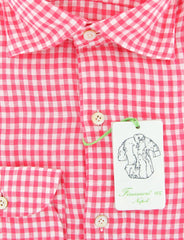 New $375 Finamore Napoli Pink Check Shirt - Extra Slim - (2018031329) - Parent