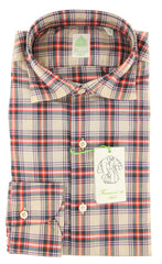 $375 Finamore Napoli Beige Plaid Cotton Shirt - Extra Slim - 15.75/40 - (I2)