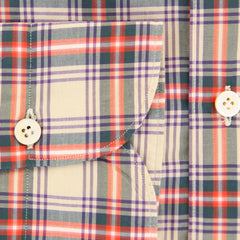 $375 Finamore Napoli Beige Plaid Cotton Shirt - Extra Slim - (I2) - Parent