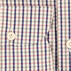 New $375 Finamore Napoli Navy Blue Plaid Shirt - Extra Slim - (2018022816) - Parent