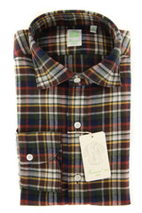 New $375 Finamore Napoli Brown Plaid Shirt - Extra Slim - (FNO11915) - Parent