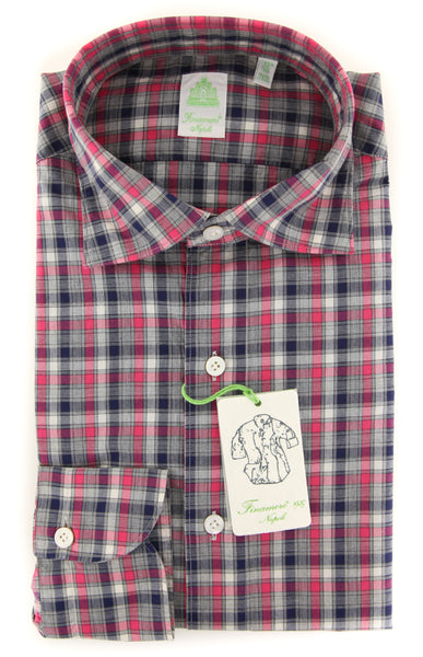 New $375 Finamore Napoli Pink Plaid Shirt - Extra Slim - (2018022727) - Parent