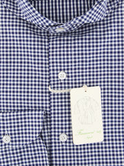 New $375 Finamore Napoli Navy Blue Check Shirt - Extra Slim - (2018031220) - Parent
