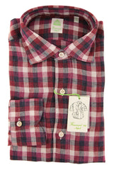 $375 Finamore Napoli Burgundy Red Plaid Linen Shirt - Extra Slim 15.75/40 - (IP)