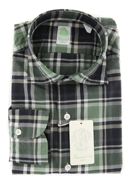 New $375 Finamore Napoli Olive Plaid Shirt - Extra Slim - (FN044034) - Parent