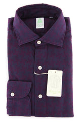 New $375 Finamore Napoli Purple Fancy Shirt - Extra Slim - 16/41 - (2018031317)