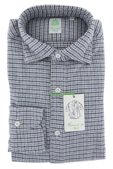 $375 Finamore Napoli Gray Houndstooth Flannel Shirt - Extra Slim - 15/38 (PF)