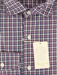 New $375 Finamore Napoli Purple Check Shirt - Extra Slim - (2018031312) - Parent