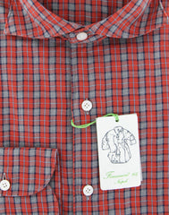 New $375 Finamore Napoli Red Plaid Shirt - Extra Slim - (2018031318) - Parent