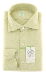 New $375 Finamore Napoli Light Green Shirt - Extra Slim - (K18189) - Parent