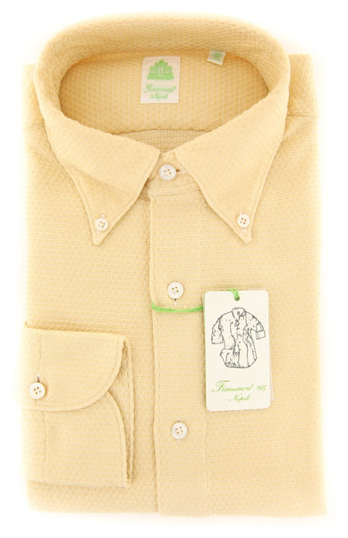 $375 Finamore Napoli Yellow Solid Shirt - Extra Slim - (FNTYO75119LUCZ) - Parent