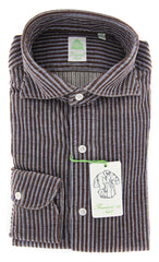 New $375 Finamore Napoli Brown Striped Shirt - Extra Slim - (2018030221) - Parent