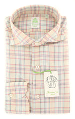 New $375 Finamore Napoli Cream Plaid Shirt - Extra Slim - (2018022623) - Parent