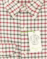 New $375 Finamore Napoli Cream Check Shirt - Extra Slim - (201802282) - Parent