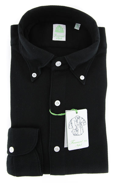 New $375 Finamore Napoli Black Solid Shirt - Extra Slim - (2018031218) - Parent