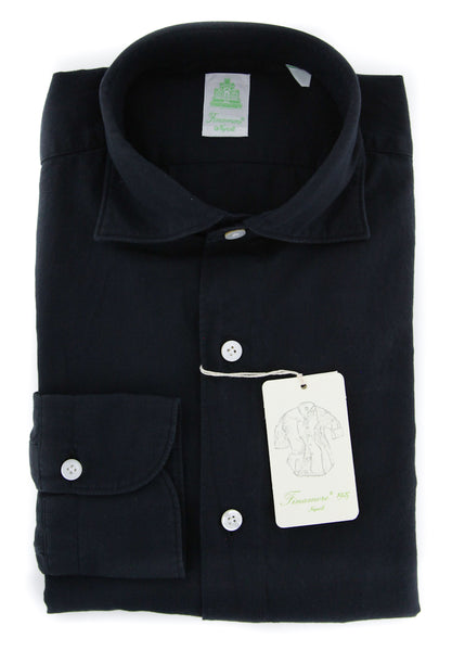 New $375 Finamore Napoli Midnight Shirt - Extra Slim - (FN080265) - Parent