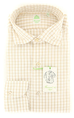 New $375 Finamore Napoli Off White Window Pane Shirt - Extra Slim - (2018022820) - Parent