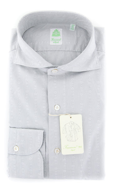 New $375 Finamore Napoli Light Gray Fancy Shirt - Extra Slim - (2018031213) - Parent