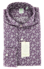 New $375 Finamore Napoli Purple Floral Shirt - Extra Slim - 15.5/39 - (F110182)