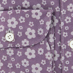 New $375 Finamore Napoli Purple Floral Shirt - Extra Slim - (F110182) - Parent