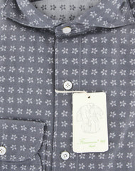 New $375 Finamore Napoli Gray Floral Shirt - Extra Slim - (2018031215) - Parent