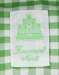 New $375 Finamore Napoli Green Check Shirt - Extra Slim - (FN8116615) - Parent