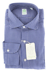 New $375 Finamore Napoli Blue Fancy Shirt - Extra Slim - (2018022717) - Parent