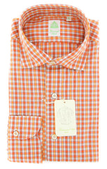 New $375 Finamore Napoli Orange Plaid Shirt - Extra Slim - 15.5/39 - (201802278)