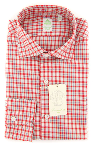 New $375 Finamore Napoli Red Plaid Shirt - Extra Slim - (201802277) - Parent