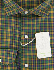 New $375 Finamore Napoli Green Plaid Shirt - Extra Slim - (FN0810235) - Parent