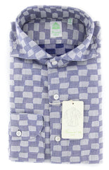 New $375 Finamore Napoli Blue Fancy Shirt - Extra Slim - 16/41 - (2018031310)