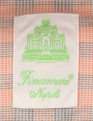 New $375 Finamore Napoli Orange Plaid Shirt - Extra Slim - (2018022617) - Parent