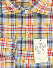 $375 Finamore Napoli Yellow Plaid Linen Shirt - Extra Slim - (IO) - Parent