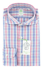 New $375 Finamore Napoli Off White Plaid Shirt - Extra Slim-15.5/39-(2018022625)