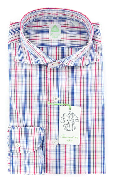 New $375 Finamore Napoli Off White Plaid Shirt - Extra Slim - (2018022625) - Parent