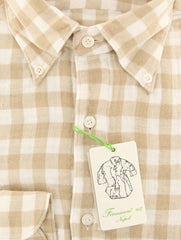 New $375 Finamore Napoli Cream Check Shirt - Extra Slim - (F112185) - Parent