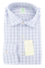 New $375 Finamore Napoli Blue Plaid Shirt - Extra Slim - (2018022715) - Parent