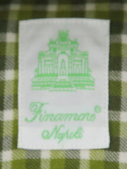 $375 Finamore Napoli Green Plaid Flannel Shirt - Extra Slim - (YE) - Parent