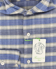 New $375 Finamore Napoli Blue Plaid Shirt - Extra Slim - (F110186) - Parent