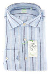 New $375 Finamore Napoli Light Blue Striped Shirt - Extra Slim - (2018022838) - Parent