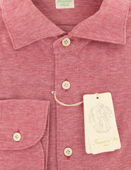 $375 Finamore Napoli Red Other Stretch Shirt - Extra Slim - (VV) - Parent