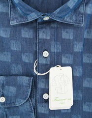 New $375 Finamore Napoli Denim Blue Shirt - 16.5/42 - (30WA801185301)