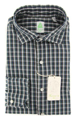 New $375 Finamore Napoli Green Plaid Shirt - Extra Slim - 16/41 - (WAC12900101)